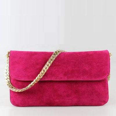 Celine Shoulder Bag Gourmette in Suede Fuschia